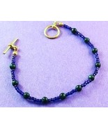 Handcrafted Gold-Plated Green Stone Seed Bead B... - $5.00