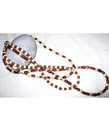 Three stranded necklace, light and dark wood beads - $9.00