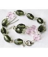 Gray Pink Faceted Glass Beaded Bracelet Earrings - $8.00
