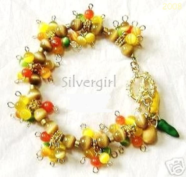 Gold Orange Yellow Brown Fiber Optic Loaded Charm Bracelet