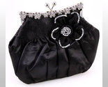 Buy Handbags - Retro Design Flower Crystal Rhinestone Black Handbag