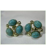 Vintage Faux Turquoise Screw Back Earrings LONG... - $5.99
