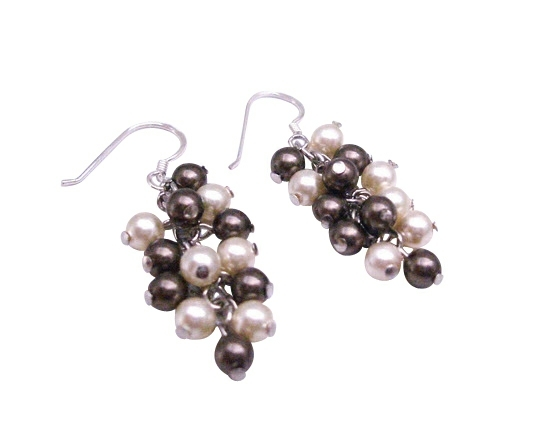 Swarovski Brown & Ivory Pearls  92.5 Sterling Silver Earrings