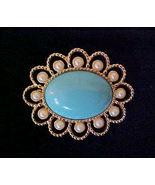 Vintage Magic Moods Pearl & Turquoise Pin Sarah... - $7.50
