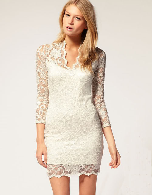 White Stretch Lace Mini Dress Small