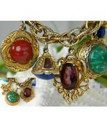 Vintage Chunky Charm Bracelet Lanterns Cabochon... - $59.95
