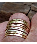 Handmade skinny stack rings 14K yellow gold f /... - $99.00