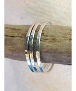 Skinny stack rings/bands hammered sterling silv... - $34.00
