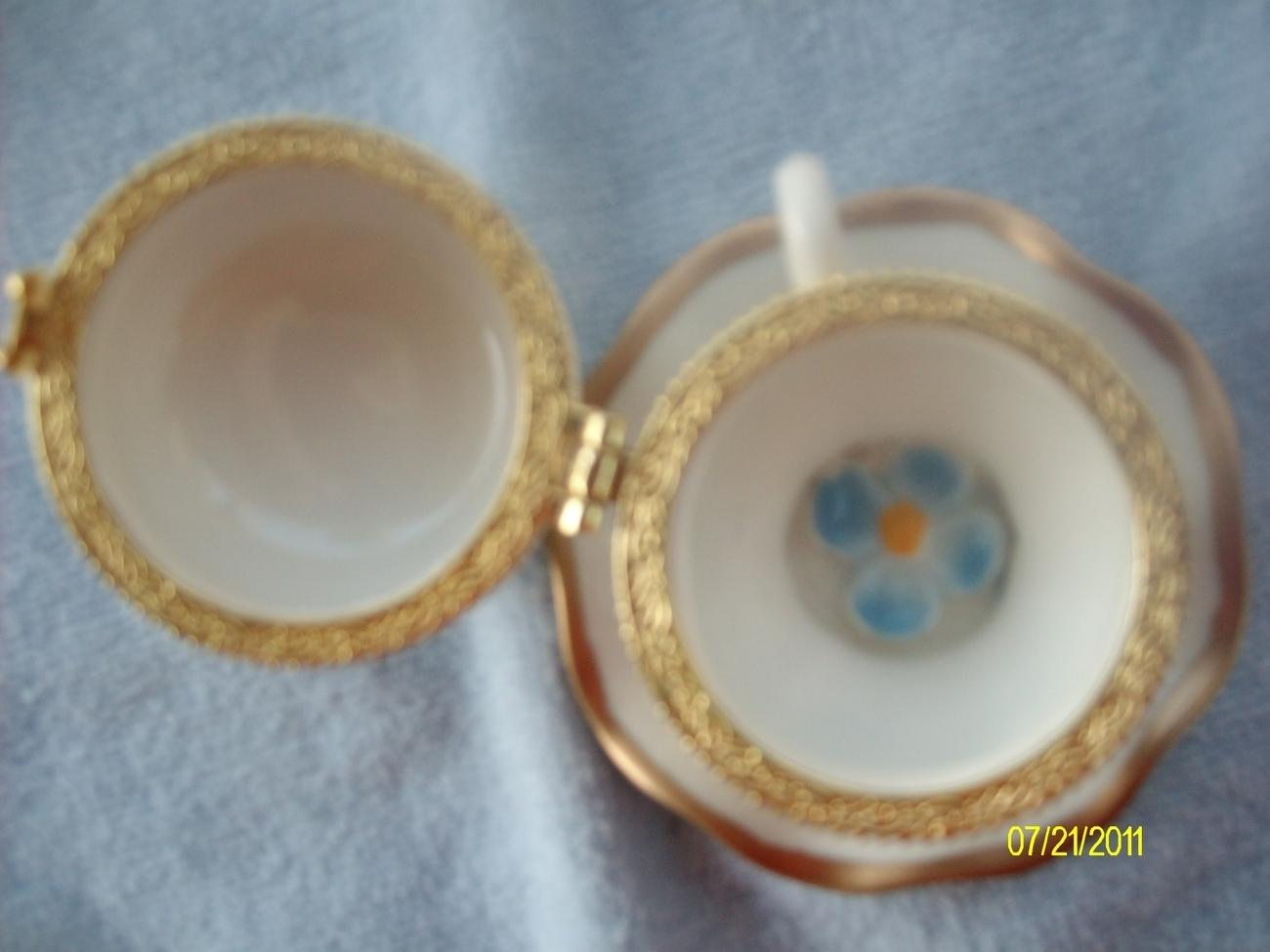 Image 2 of  Blue Flower Porcelain Teacup & Saucer Trinket Box