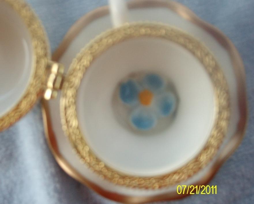 Image 3 of  Blue Flower Porcelain Teacup & Saucer Trinket Box
