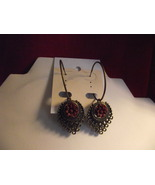 Handcrafted bronze tone cabachon burgundy flowe... - $7.99