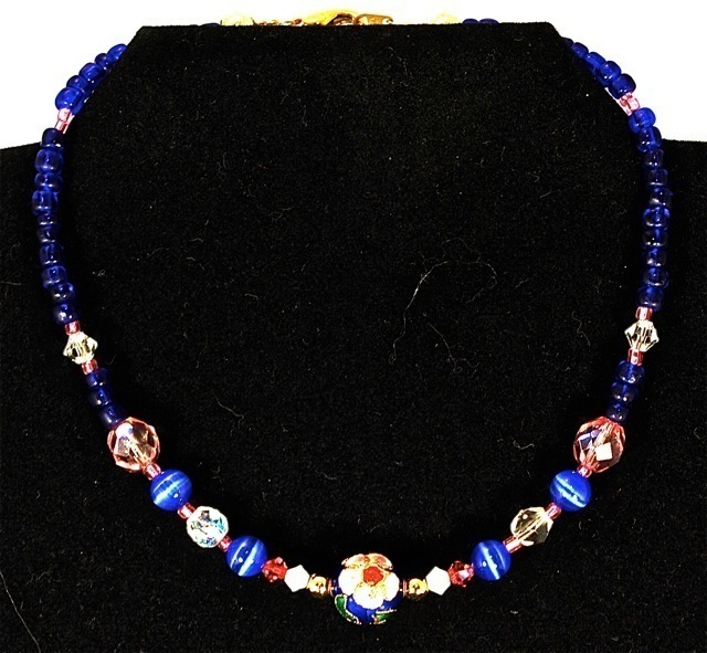 Small Swarovski, Cloisonne, and Blue Glass Beaded Dog Necklace