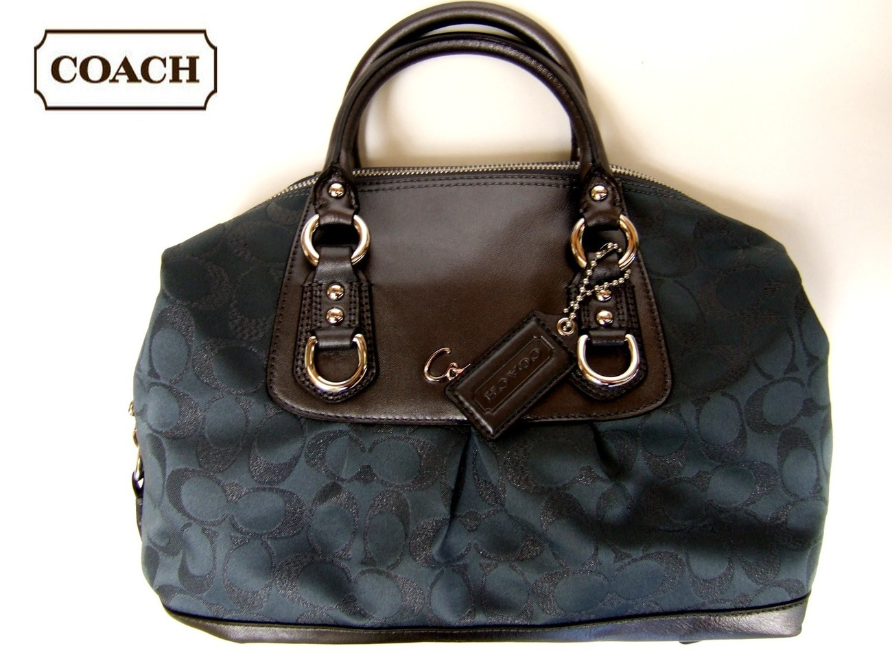 $298NWT Coach Ashley Metallic Signature Satchel F18777 Handbag Authentic