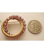Aurora Borealis Prong Set Double Ring Circle Pi... - $9.80