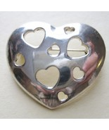 Heart Cut Out Hearts Silver Tone Metal Pin Broo... - $12.73