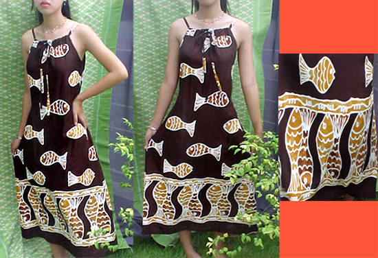 Sexy Sun Dress Brown Fish Spagetthi Strap Rayon S M