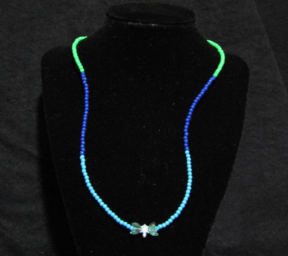 Plastic Beaded Turtle Necklace in Blue and Green 21-3/4 inches