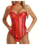 Sexy Classic Red Burlesque Sequin Corset 1012RED - $31.99