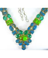 Blue and Green Copper Turquoise with Green Quar... - $291.87