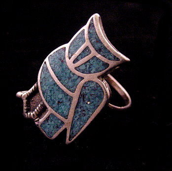 Sterling Silver & Blue Stone Owl Bird Ladies Ring