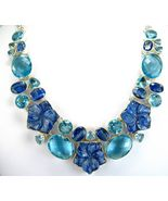 Kyanite Carved Flowers + Ovals with Blue Topaz ... - $330.58