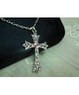 Cross Pendant Charm Necklace w/Pink Gemstones i... - $12.99