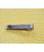 Men vintage silver tone mesh with black stone t... - $12.99