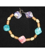 Wood and Shell Bracelet 9 inches Colorful - $5.00