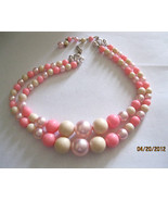 Vintage Japan Pink Lucite 50s Era Multi Strand Graduated Beaded Necklace