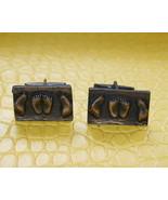 Men vintage feet design dark bronze metal cuffl... - $16.99