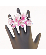 Pink Adjustable Double Butterfly Bling Ring