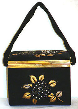 60s Vintage Velvet Box Handbag Beaded