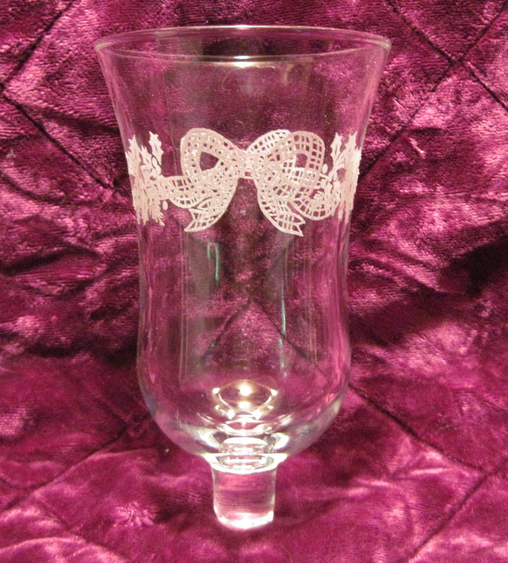 Home Interiors Peg Votive Holder Embossed Bows and Holly OOS