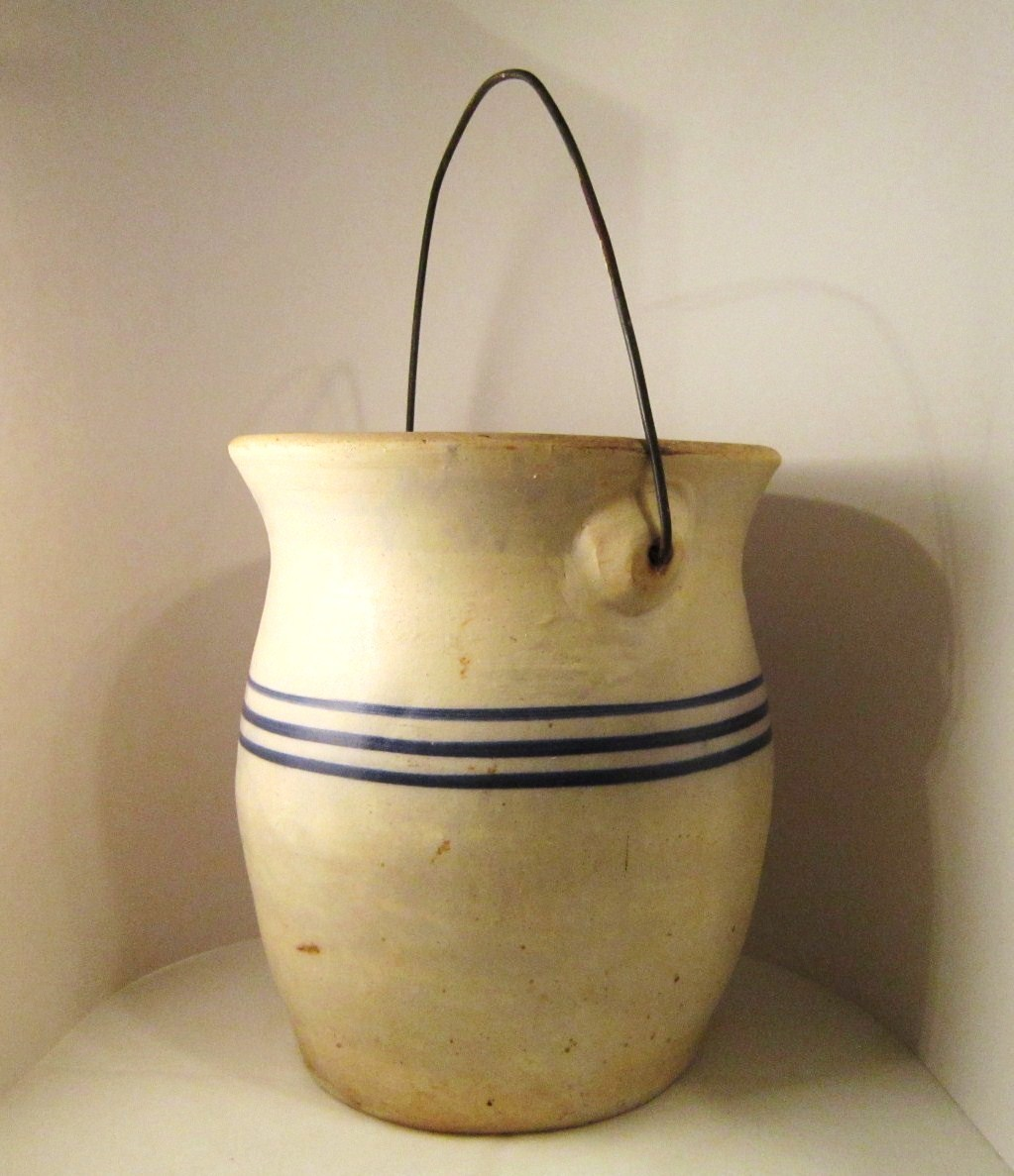 Stoneware Crock, Blue Stripes and Bail, 10 inch tall, Heavy