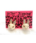 Betsey Johnson White Rabbit Earrings  Rhinestone Gem Very Cute