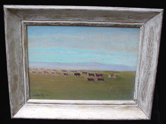 Old Archie A Gilhousen Ca California Western Art Range Cattle Drive Oil Painting