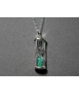 Sterling Silver Hourglass Pendant Emerald with ... - $44.95