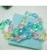 Modern Lucite pastel rainbow w sparkle necklace... - $8.00