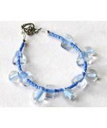 Blue Clear Glass Round Triangle Beaded Dangle B... - $6.00