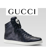 GUCCI INTERLOCK GG LOGO IMPRIME BLUE LEATHER SNEAKERS SHOES $695 BRAND NEW ITALY - $598.00