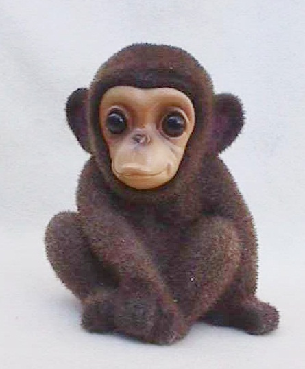 1960s Flocked Baby Monkey Chimp Bank Mint