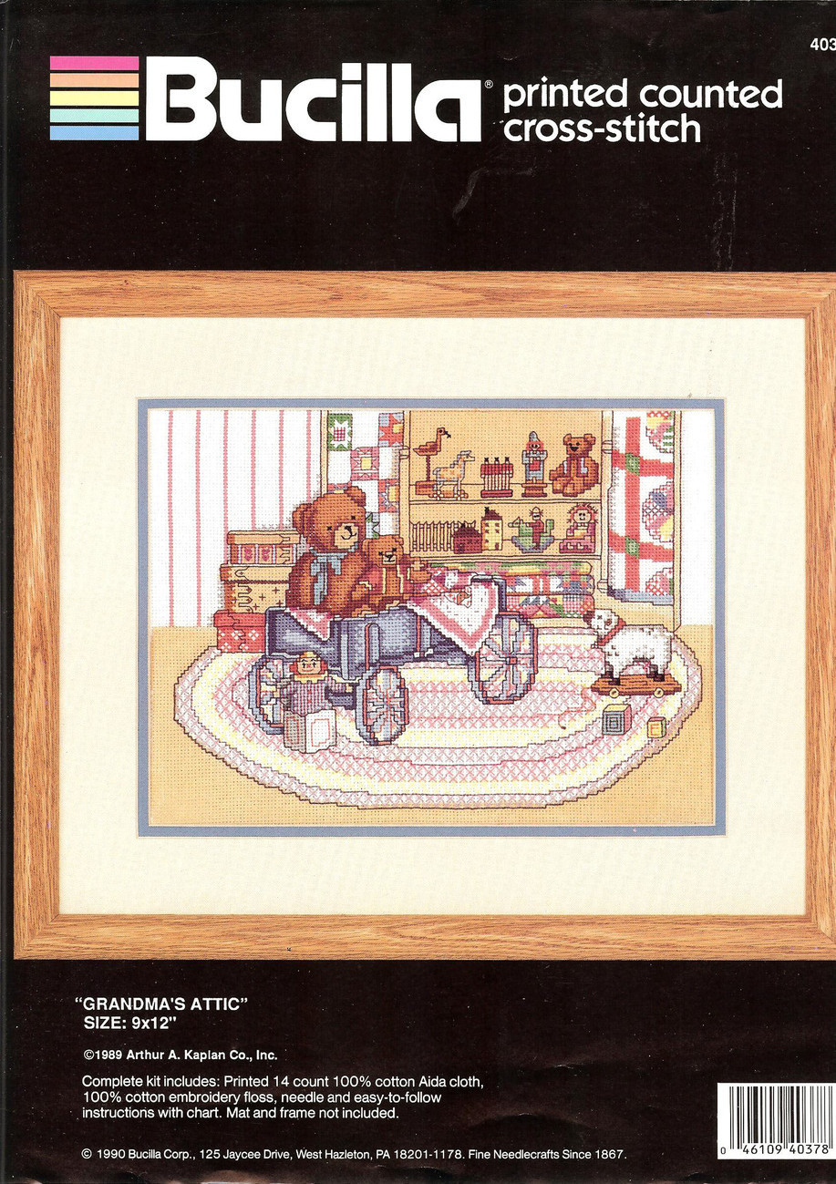 BUCILLA Grandma's Attic Cross Stitch Kit Teddy Bear 40378
