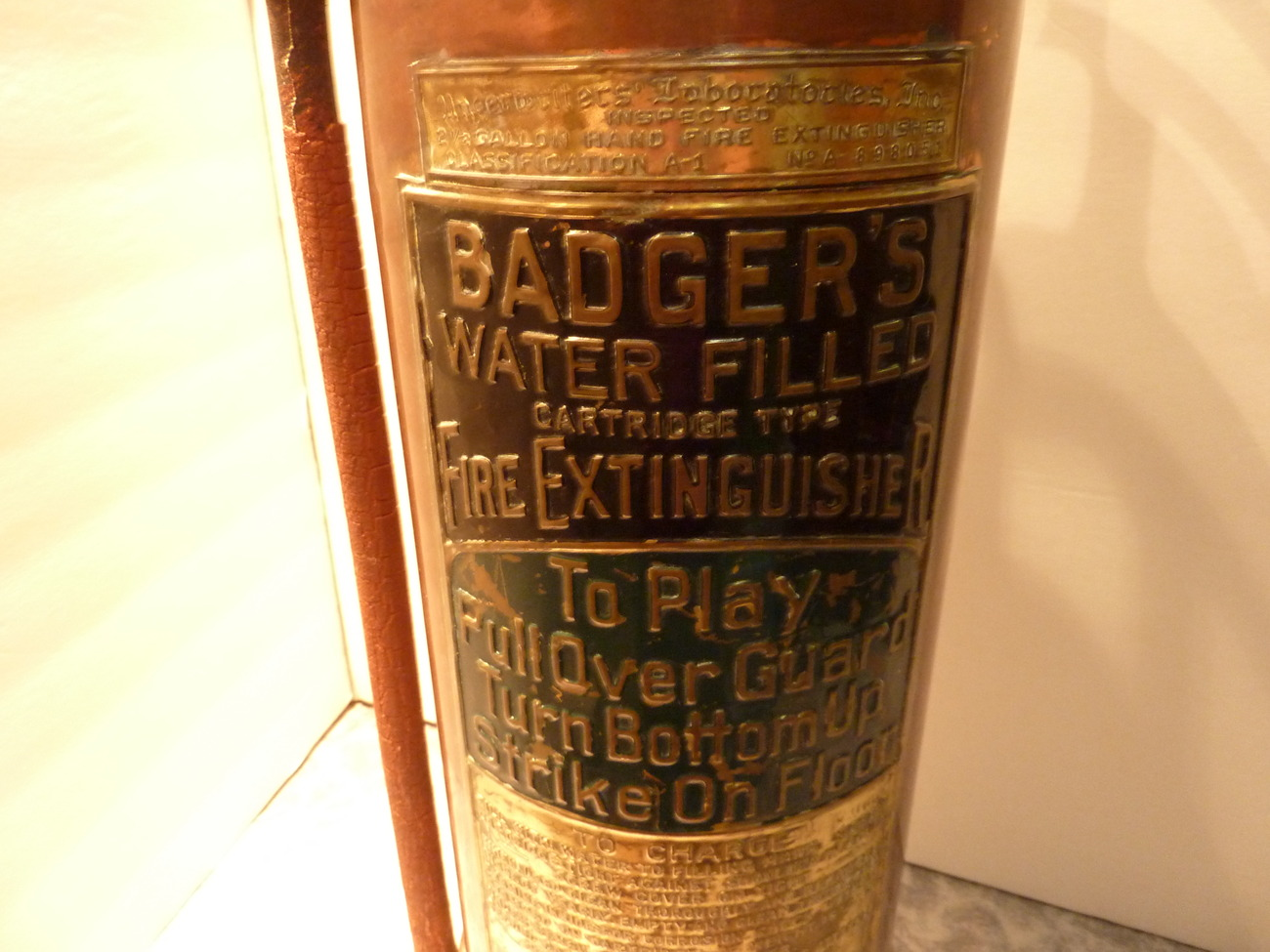 Badgers water filled fire extinguisher