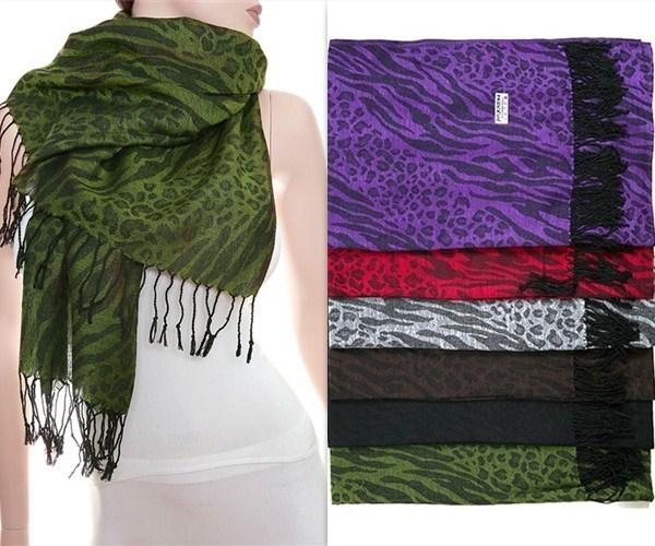 Purple Pashmina Silk Fringed Scarf Shaw Wrap Zebra Leopard Animal Print 70 X 26