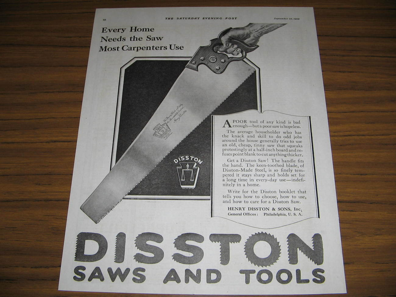 1920 Vintage Ad Disston Saws and Tools Philadelphia,PA