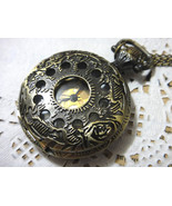 Steampunk HOLLOW Vintage POCKET WATCH Necklace