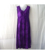Long purple batik sleeveless dress with button-... - $15.00