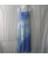 Papillon long blue rayon medium dress with spag... - $20.00