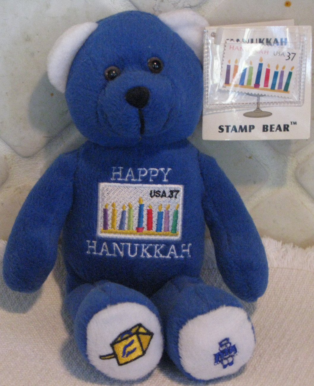 Hanukkah Stamp Bear with tags Beanie