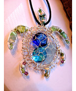 Sea turtle beach sea glass pendant blue/green s... - $69.00